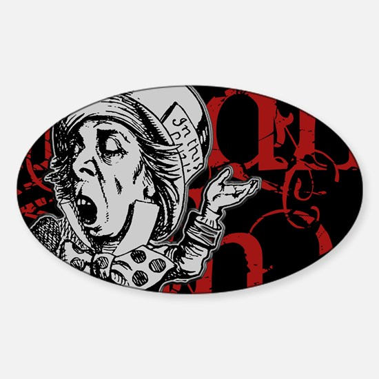 madhatter-red-2 Sticker (Oval)