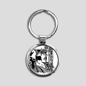 magnet_3x3_horse_black Round Keychain