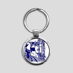 magnet_3x3_horse_blue Round Keychain