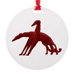 Red Holiday Borzoi Ornament