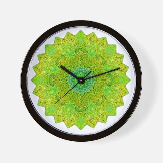 Green Yellow Earth Mandala Shirt Wall Clock