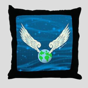 GSFlyingEarthBG001 Throw Pillow
