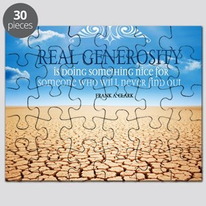 Generosity Quote on Large Framed Print Puzzle