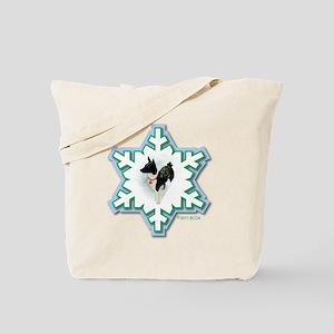 MABC_1A BLACK Blue  Green Snowflake_ Tote Bag