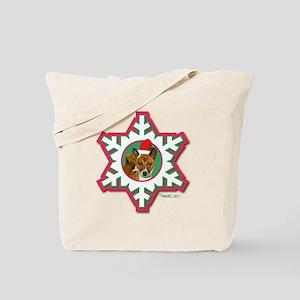 MABC_3B NEW BRINDLE Red  Green Snowflake_ Tote Bag