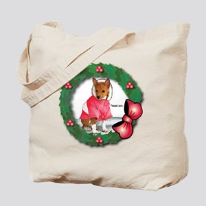 MABC_Red Basneji Puppy w- Red Berries  Bo Tote Bag