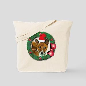 MABC_Brindle Baseneji w-Red Berries  Bow  Tote Bag