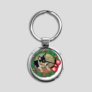 MABC_TRI Basenji Pup w-Red Balls  B Round Keychain