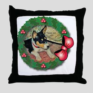 MABC_TRI Basenji Pup w-Red Balls  Bow Throw Pillow