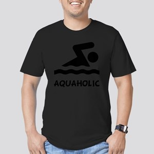Aquaholic Swimmer Blac Men's Fitted T-Shirt (dark)