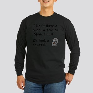 Short Attention Black Long Sleeve Dark T-Shirt