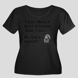 Short At Women's Plus Size Dark Scoop Neck T-Shirt