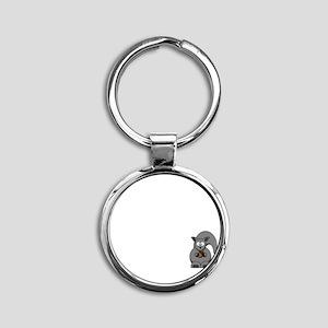 Short Attention White Round Keychain