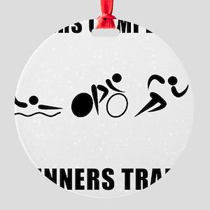 Triathlon Winners Train Black Round Ornament