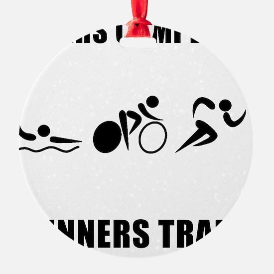 Triathlon Winners Train Black Ornament