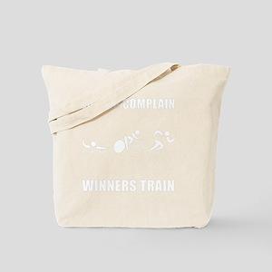 Triathlon Winners Train White Tote Bag