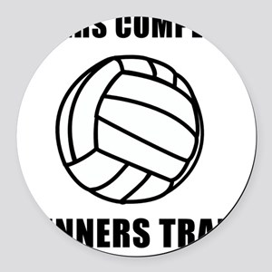 Winners Train Volleyball Black Round Car Magnet