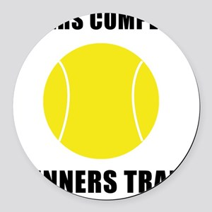 Winners Train Tennis Black Round Car Magnet