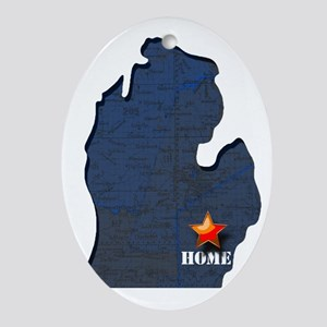 Michigan is home Oval Ornament