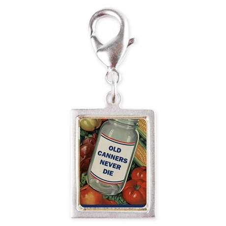 Old Canners Never Die Silver Portrait Charm