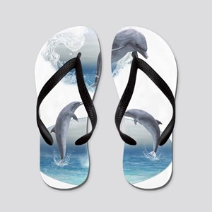 The Heart Of The Dolphins Flip Flops