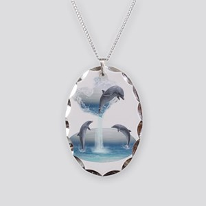 The Heart Of The Dolphins Necklace Oval Charm
