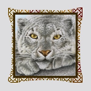Snow Leopard (T-shirt) Squares Woven Throw Pillow