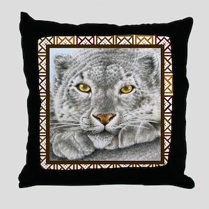 Snow Leopard (coaster) Squares brown Throw Pillow