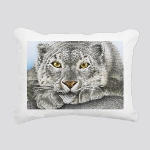 Snow Leopard (shoulder b Rectangular Canvas Pillow
