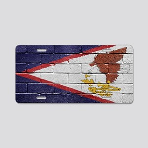 flag_grunge_wall_american_s Aluminum License Plate