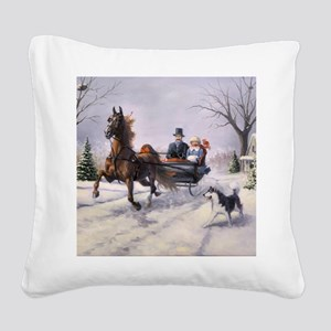 Dashing Through the Snow Square Canvas Pillow