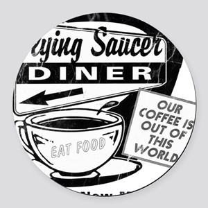 Flying Saucer Diner Round Car Magnet