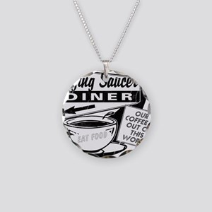 Flying Saucer Diner Necklace Circle Charm