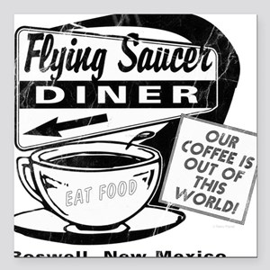 "Flying Saucer Diner Square Car Magnet 3"" x 3"""
