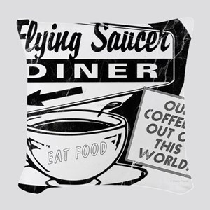 Flying Saucer Diner Woven Throw Pillow