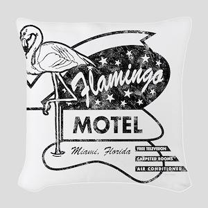 Flamingo Motel Woven Throw Pillow
