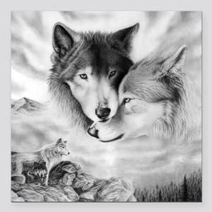 "wolfmates Square Car Magnet 3"" x 3"""