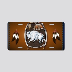 purse Whie Buffal brown Aluminum License Plate