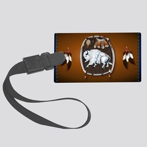 purse Whie Buffal brown Large Luggage Tag