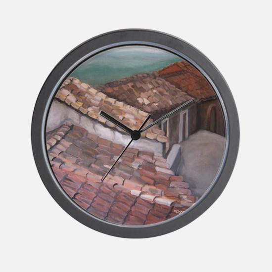 roofs of Monterosso Wall Clock
