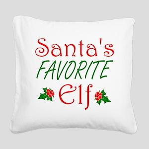 Santas Favorite Elf Square Canvas Pillow