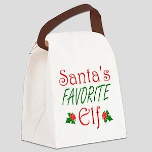 Santas Favorite Elf Canvas Lunch Bag