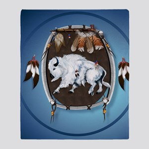 circle White Buffalo Sheild-blue2 Throw Blanket