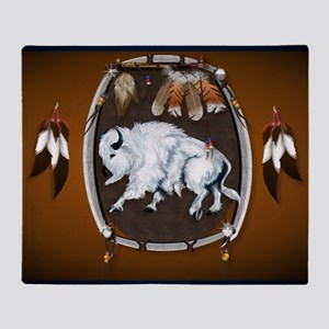 CalenderWhite Buffalo Shield 2brown Throw Blanket