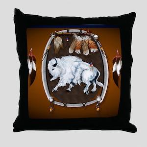 CalenderWhite Buffalo Shield 2brown Throw Pillow