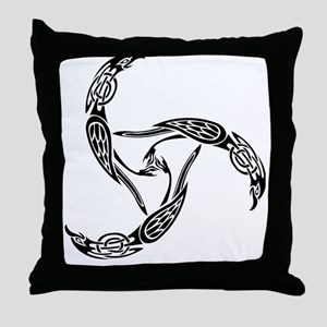 ravenknotwork-black Throw Pillow