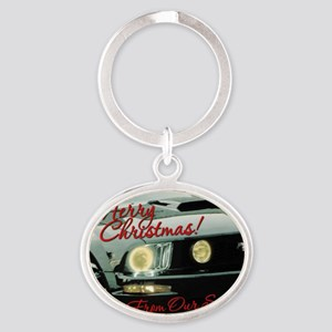 Xmas-merry-outMustang2 Oval Keychain