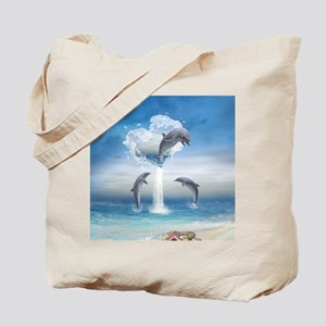 dolphins_3_5_Button Tote Bag