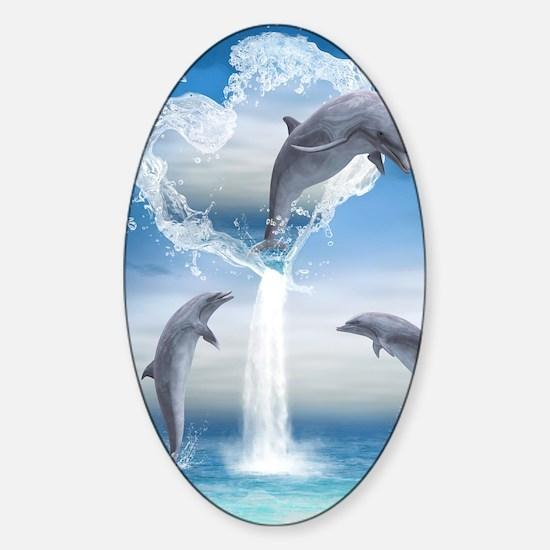 dolphins_ipad_2 Sticker (Oval)