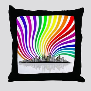 Rainbow City Throw Pillow